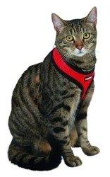 Szelki z lamówką + smycz 120cm dla kota Czerwone
