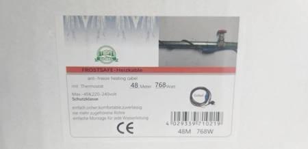 Kabel grzewczy przewód grzejny 48m z termostatem NIEBIESKI GOBEL