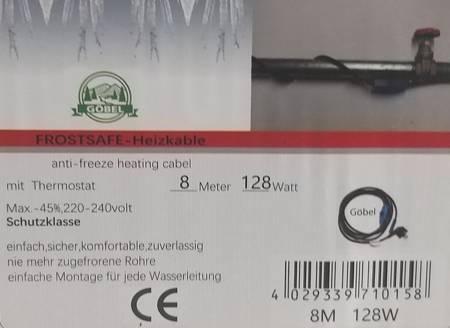 Kabel grzewczy przewód grzejny 8m z termostatem NIEBIESKI GOBEL